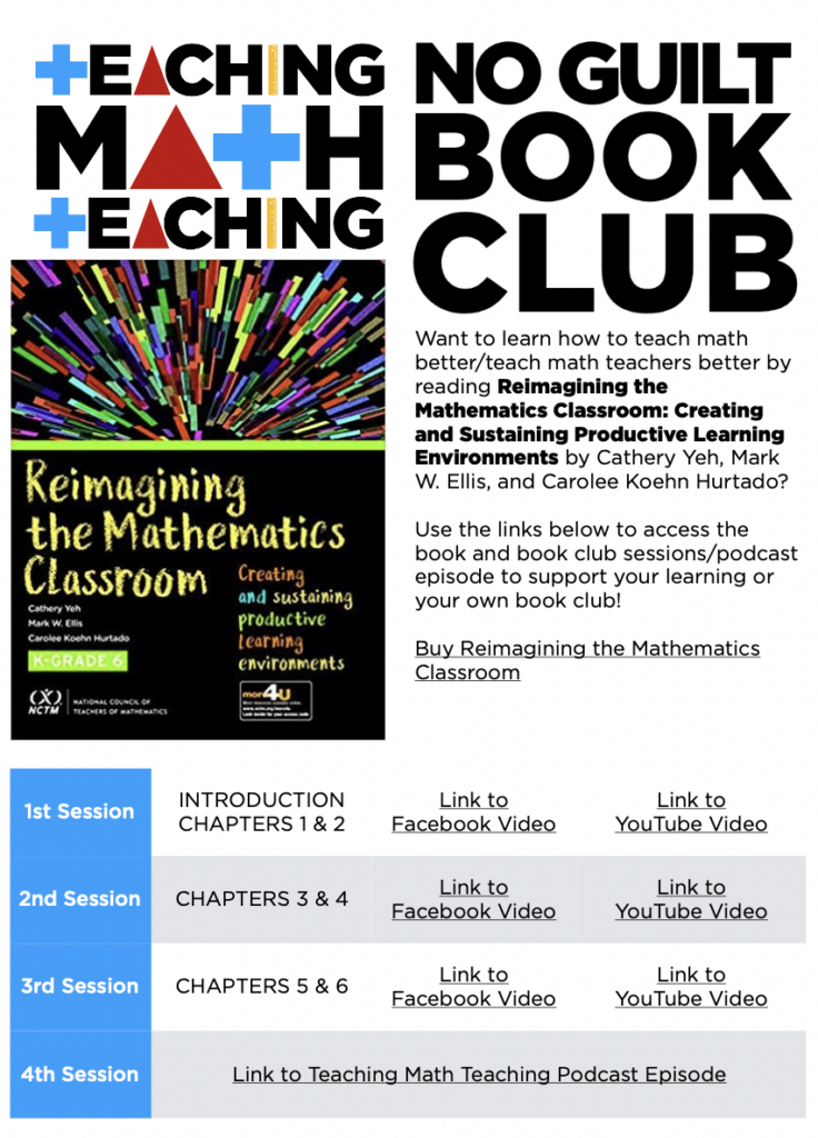 Snapshot of the resources for the Teaching Math Teaching No Guilt Book Club for Reimagining Mathematics by Cathery Yeh, Mark Ellis, and Carolee Hurtado.